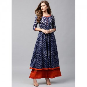 Libas Blue Cotton Printed Anarkali Kurta