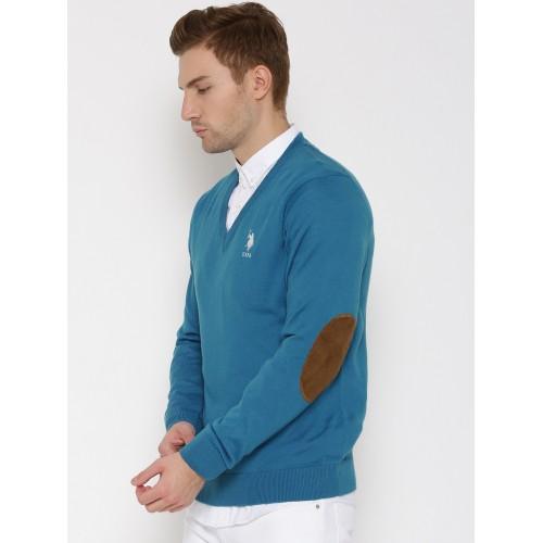 U.S. Polo Assn. Blue Merino Wool Sweater