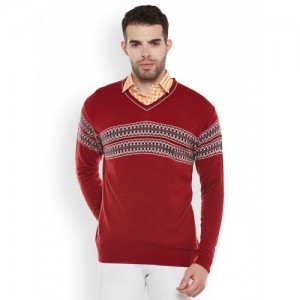 Duke Men Red Solid Pullover