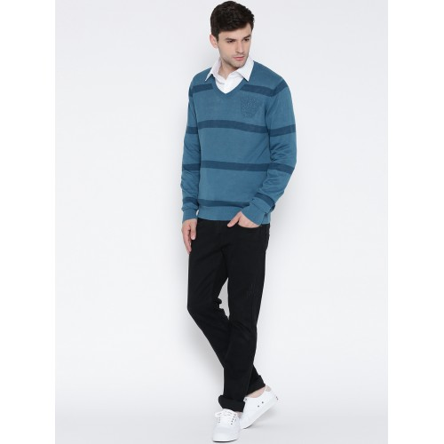 U.S. Polo Assn. Men Blue Striped Sweater