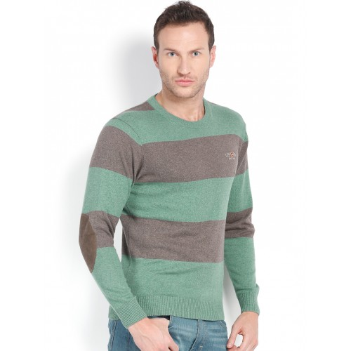 U.S. Polo Assn. Men Brown & Green Striped Sweater