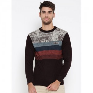 Duke Burgundy Woollen Self-Design Sweater