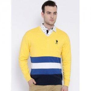 U.S. Polo Assn. Yellow Sweater with Striped Detail