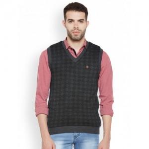 Duke Men Grey Patterned Pullover