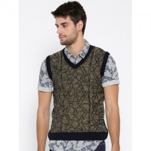 Duke Men Olive Green & Navy Blue Woollen Sleeveless Self-Design Sweater