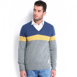 U.S. Polo Assn. Men Grey & Blue Woollen Sweater