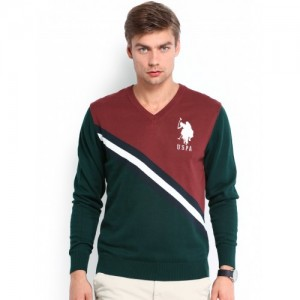 U.S. Polo Assn. Men Green & Maroon Sweater