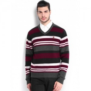 U.S. Polo Assn. Men Grey Striped Woollen Sweater