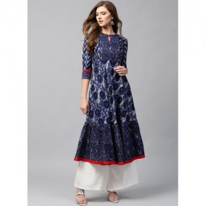 Libas Navy Blue Cotton Printed Anarkali