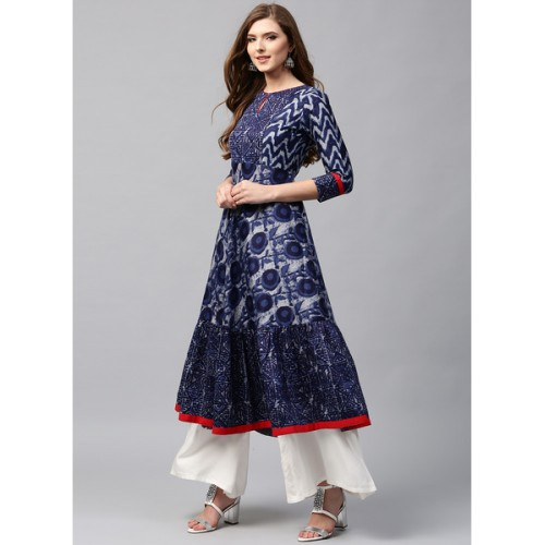 Libas Navy Blue Cotton Printed Anarkali