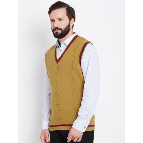 Buy Blackberrys Men Mustard Yellow Cable Knit Sweater Online Looksgud In