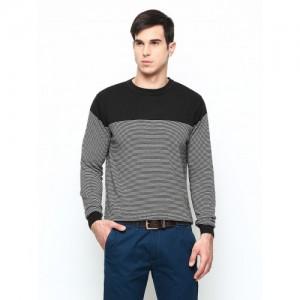 Blackberrys Men Black Striped Sweater