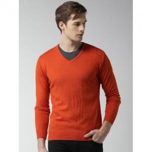 Mast & Harbour Men Orange Solid Sweater