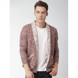 Mast & Harbour Men Maroon & White Self Design Front-Open Sweater