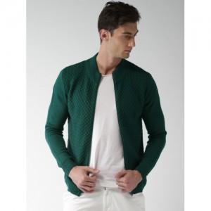 Mast & Harbour Men Green Self Design Front-Open Sweater