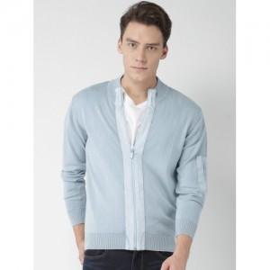 Mast & Harbour Men Blue Solid Front-Open Sweater