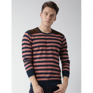 Mast & Harbour Men Navy & Coral Pink Striped Sweater