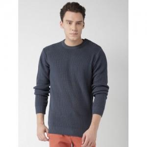 Mast & Harbour Men Blue Self Design Sweater