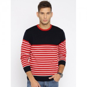 Mast & Harbour Men Navy & Red Striped Sweater