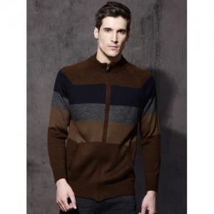 Roadster Men Brown & Grey Striped Cardigan