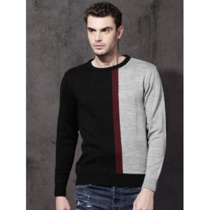 Roadster Men Black & Grey Colourblocked Pullover