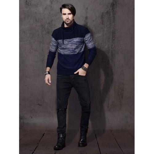 Roadster Men Navy Blue & Grey Self-Design Pullover