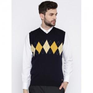 Raymond Navy Blue Wool Self Design Sweater Vest