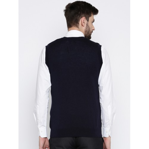 Raymond Navy Blue Wool Self Design Sweater Vest