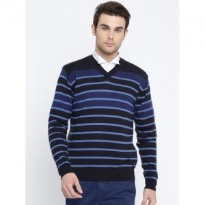 Raymond Men Blue Striped Woollen Sweater