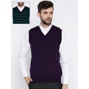 Raymond Men Navy Blue & Beige Striped Sweater Vest