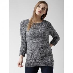 ALCOTT Women Navy & White Patterned Sweater