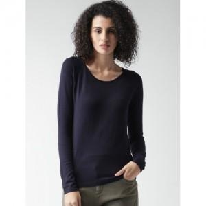 ALCOTT Women Navy Blue Solid Sweater