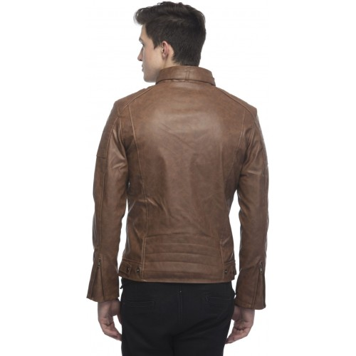 Fashion Mantra Brown Full Sleeve Solid Men Riding Jacket