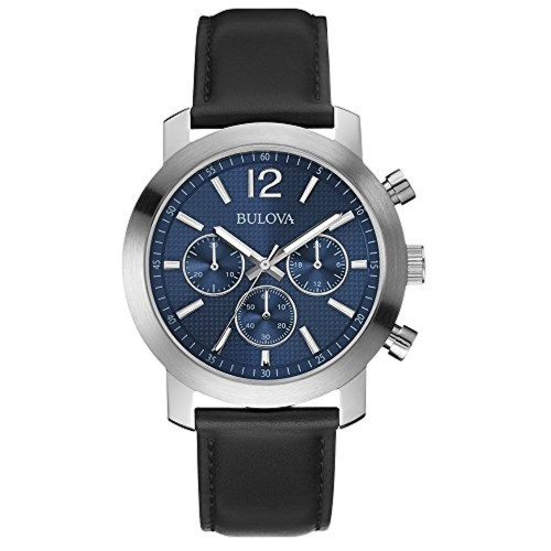 81bdc3ea8 Buy Bulova 96A160 Mens Sport Chronograph Black Leather Strap Watch online |  Looksgud.in