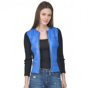 Raabta Royal Blue Faux Leather Jacket