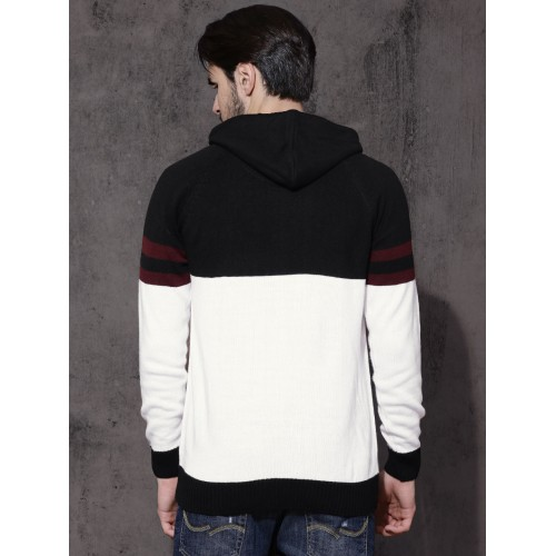 Roadster Men Black & White Colourblocked Hooded Pullover