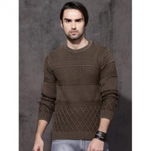Roadster Men Coffee Brown Self Design Pullover