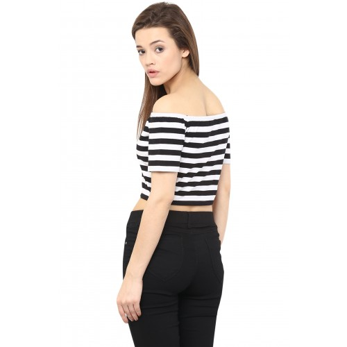e0dc62980db474 Buy Miss Chase Women s Black Off Shoulder Half Sleeves Basic Striped ...