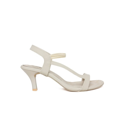 Vendoz Cream Synthetic Party Wear Heels