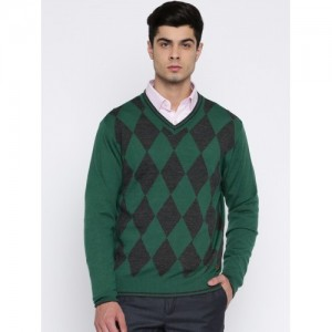 Raymond Men Green & Charcoal Self-Design Pullover Sweater
