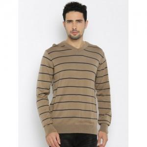 Raymond Men Beige Striped Sweater