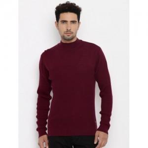 Raymond Men Maroon Solid Sweater
