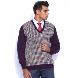 Raymond Purple & Beige Sweater