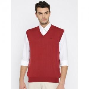 Monte Carlo Men Maroon Solid Woollen Pullover