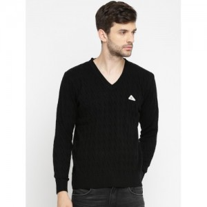 Monte Carlo Men Black Self Design Pullover