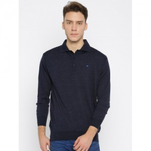 Monte Carlo Men Navy Blue Solid Pullover