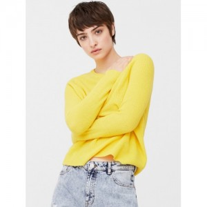 MANGO Women Yellow Solid Pullover