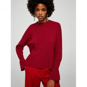 MANGO Women Red Solid Sweater