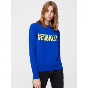 MANGO Women Blue Self-Design Sweater