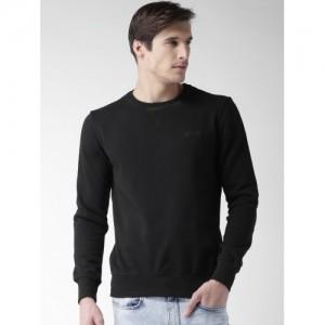 ALCOTT Men Black Solid Sweatshirt